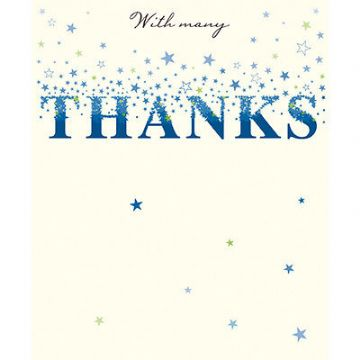 "THANK YOU CARD ""STARS & SPARKLE THANKS"" SIZE 7"" x 5.75"" JOHI 0051"